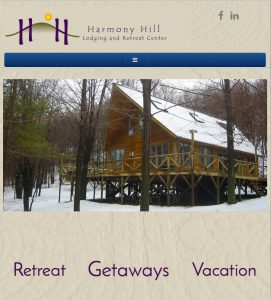 ablet size screenshot of Harmony Hill Retreat homepage